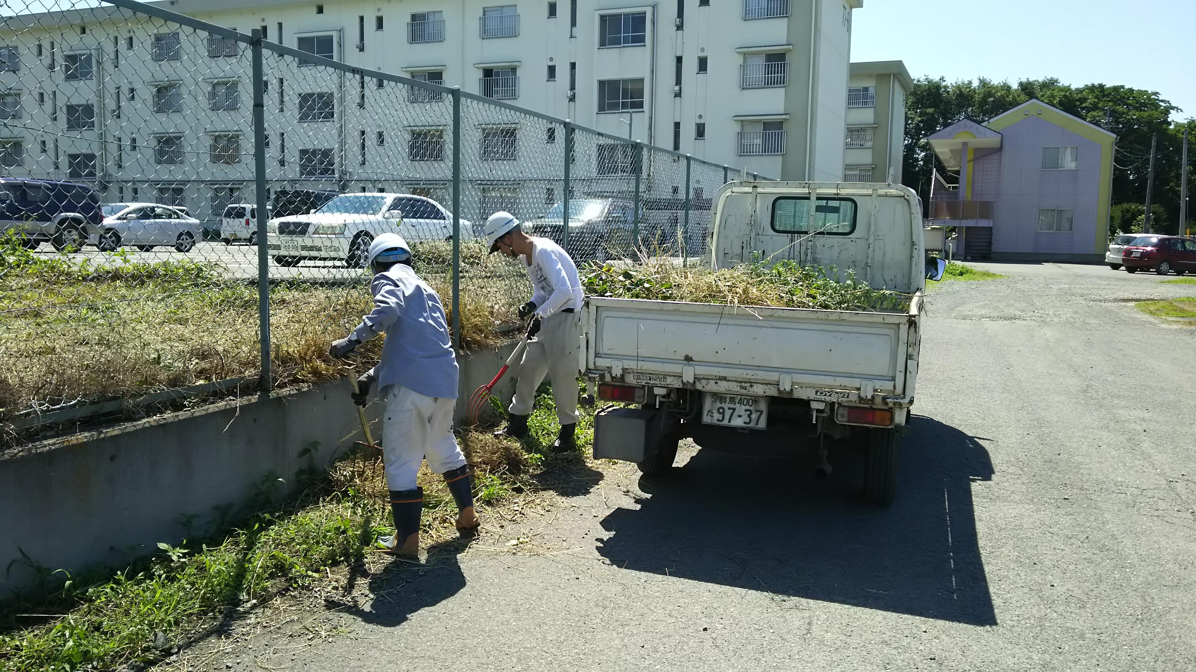 団地の除草作業